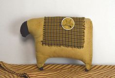Primitive Country Sheep with Star Farmhouse Decor Shelf Sitter Pillow #Country