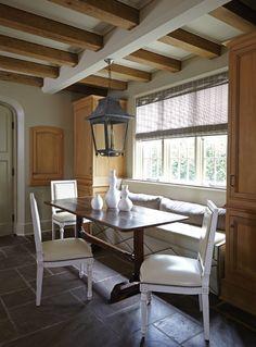 Upholstered kitchen banquette. #kitchen #dining
