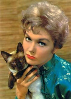 Kim Novak and her beautiful Siamese cat Viejo Hollywood, Old Hollywood, Siamese Cats, Cats And Kittens, Siamese Dream, Persian Kittens, Crazy Cat Lady, Crazy Cats, I Love Cats