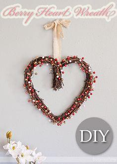 DIY Berry Heart Wreath! Pretty Valentine's Day Decor