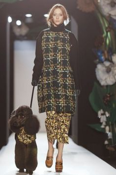 Plaid on Floral on Poodle | Mulberry Ready To Wear Fall Winter 2013 London | | #LFW | #FW2013 |