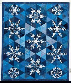 QM Cool Down: Winter Quilts / Snowflakes, which originally appeared in Quiltmaker Nov/Dec (No. Two Color Quilts, Blue Quilts, Star Quilts, Quilt Blocks, Snowflake Quilt, Snowflake Pattern, Paper Piecing Patterns, Quilt Patterns, Pattern Paper