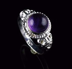 925 STERLING SILVER NATURAL AMETHYST GEMSTONE HANDMADE RING SIZE US 6 R109 #Unbranded