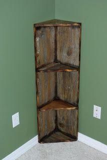 barn wood shelves | Reclaimed Rustics: Barn Wood Corner Shelf. I would want  to make this so that I