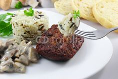 cutlet with rice and mushrooms