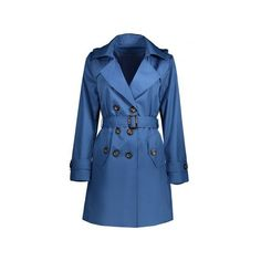 Belted Double Breasted Trench Coat with Pockets ($29) ❤ liked on Polyvore featuring outerwear, coats, double-breasted trench coats, belted trench coat, pocket coat, belted coat and double breasted coat