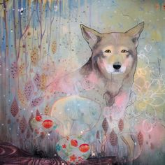 pink woodland wolf print  / kendra binney