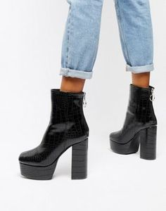 Shop Public Desire black croc effect platform boots at ASOS. Discover  fashion online. Fall 9f89cc0e1c