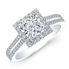 Diamond Engagement Ring 14K White Gold 1.49 Ct Solitaire Round & Princess Cut
