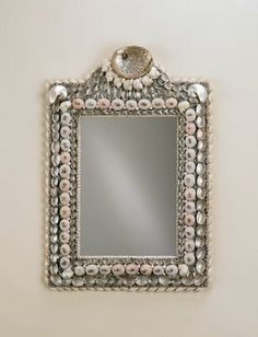 shell mirror, somewhat formal but folksy whimsy