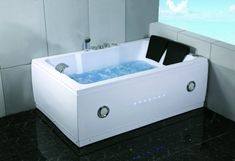 2 Person Bathtub White Jacuzzi Type Whirlpool 14 Massage Jets Built-in Heater Waterfall Faucet FM Radio SPA Hot Tub Model - Amazo. Indoor Jacuzzi, Jacuzzi Hot Tub, Spa Tub, Jetted Tub, Jacuzzi Bathroom, Bathroom Tubs, Master Bathrooms, Downstairs Bathroom, Apartments Decorating