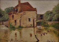 """Emile BAUBAULT (actieve late 19e c. - vroege 20e c.) - Moulin de la Chaussée  Olieverf op karton ingekaderd met passe-partout en gebeeldhouwd gouden houten frame.""""Baubault"""" op de rechter benedenhoek ondertekendOp de linker benedenhoek de inscriptie """"Loiret Moulin de la Chaussée"""" en een datum """"11 juillet 1892""""Afmetingen van het schilderij: 33 x 24 cmAfmetingen van het frame: 45 cm x 37 cmAlles in zeer goede staat verse en solid.Emile Baubault was een regionale schilder lid van de Société des…"""