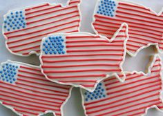 American Flag Map Sugar Cookies by GingerSnapMarket on Etsy