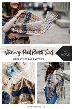 The Waterbury Plaid Blanket Scarf transforms basic stripes into dramatic plaid with a simple weaving Crochet Scarves, Knit Crochet, Crochet Hats, Knitting Scarves, Knit Cowl, Hand Crochet, Crochet Bikini, Knitting Patterns Free, Free Knitting