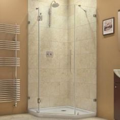 DreamLine, PrismLux 36-5/16 in. x 36-5/16 in. x 72 in. Frameless Hinged Shower Enclosure in Chrome, SHEN-2236360-01 at The Home Depot - Mobile