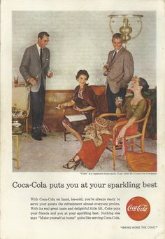 Coca Cola Original 1956 Vintage Print Ad Color Photo Sylish Couples Entertaining at Home with Ice Cold Coke; Soft Drink; Soda Pop..
