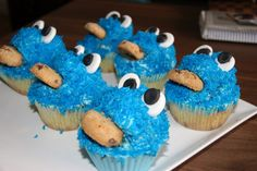 I made these Cookie Monster cupcakes today. Cookie Monster Cupcakes, Cake Creations, Cookies, Desserts, Food, Biscuits, Meal, Deserts, Essen