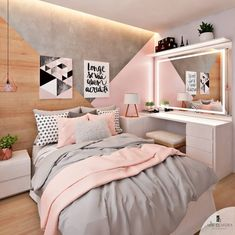 Pink, white and grey girls bedroom; pastel bedroom decor ins Room Ideas Bedroom, Bedroom Themes, Diy Bedroom, Bedroom Girls, Bedroom Colors, Decor Room, Bedroom Mirrors, Room Decorations, Teenage Bedrooms
