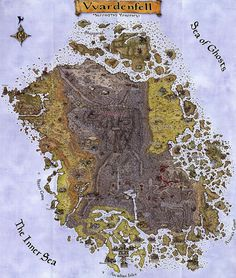 Before Skyrim. // Map of Vvardenfell (Morrowind), Home of the Dunmer. Decoration, Art Decor, Wall Prints, Poster Prints, Posters, Map Fabric, Giant Bomb, Paper Lace, Fantasy Map