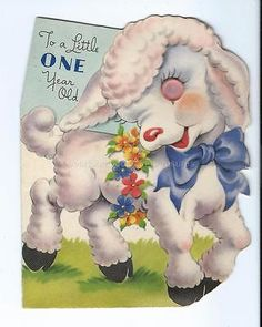 Vintage #greeting #birthday card little lamb pink button eye - 1 year old #1940's,  View more on the LINK: 	http://www.zeppy.io/product/gb/2/161869711120/