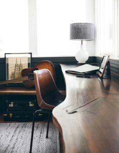 Dark grey chair rail light grey above, wood floor and desk, perfect