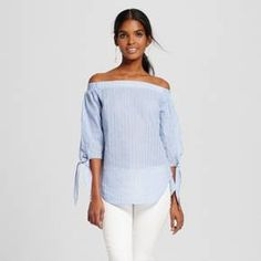 Women's Striped Off The Shoulder Woven Top Blue - Mossimo™ : Target
