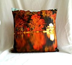 Autumn Reflection Throw Pillow Fine Art by RibbonsandGlass on Etsy