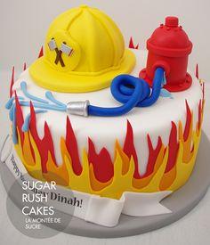 Fireman Cake - love the flames Baby Cakes, Fondant Cakes, Cupcake Cakes, Fire Engine Cake, Fireman Sam Cake, Fire Fighter Cake, Novelty Cakes, Cakes For Boys, Pretty Cakes