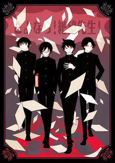The male students of Sayonara Zetsubou Sensei. Haha they forgot invisible guy rip
