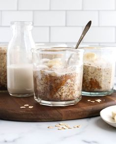 Peanut Butter Overnight Oats are a convenient make-ahead breakfast, calling for only 5 ingredients. It takes just minutes to prepare, and is ready to eat from the fridge the next day! #oats #overnightoats #breakfast #makeahead #vegan #veganrecipes #dairyfree #glutenfree #glutenfreerecipes #peanutbutter #healthyrecipes Peanut Butter Overnight Oats, Peanut Butter Roll, Make Ahead Breakfast, Breakfast Ideas, Vegan Breakfast, Breakfast Recipes, Breakfast Dishes, Raw Oats, Omelettes