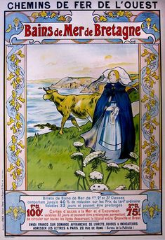 ✨ A Wilder -  Chemins de Fer de l'Ouest, Bains de Mer de Bretagne, Lithographie en couleurs 1898