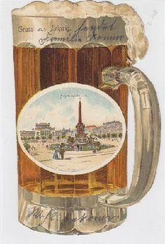 col. Litho Leipzig in Form eines Bierkruges 1900