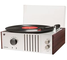 NEW CROSLEY PLAYER MAHOGANY USB 3 SPEED VINYL LP RECORD TURNTABLE w/ AM/FM RADIO