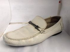 HUGO BOSS MENS WHITE LEATHER MOCASSIN LOAFER SIZE 8 MEDIUM RUSSELLB SHOES #HUGOBOSS #DrivingMoccasins