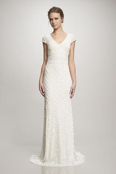 Lilia - #890098 - Cap Sleeve V-Neck beaded Gown