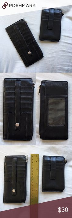 """Black leather wallet Pre-loved 3x6.5"""" leather wallet. This listing is the the larger wallet ONLY. Smaller wallet is in a separate listing. Good condition. Bags Wallets"""