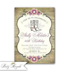 Cowgirl 40th Birthday Invitation For Her Womens Invitations Printable Invites