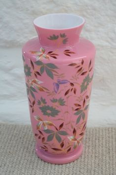 Tall Pink Antique Opaline Milk Glass Vase