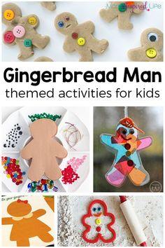 Gingerbread Man activities for kids. A list of fun gingerbread theme activities for preschool and kindergarten! via @danielledb