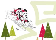 Help Mickey and Minnie sled to the big Christmas tree. Follow the green lines around Donald, Pluto, Goofy and through the trees. Watch out for dead ends!