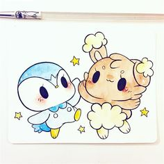 piplup x buneary Kawaii Doodles, Cute Kawaii Drawings, Kawaii Chibi, Kawaii Art, Pokemon Terrarium, Cute Kawaii Animals, Disney Princess Art, Cute Dragons, Arte Disney
