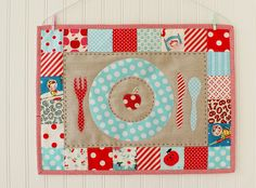 Kids placemat & idea for red and aqua scrap fabrics By nanaCompany