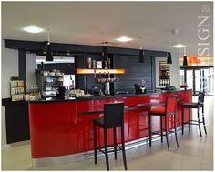 Ramada Encore, Gateshead, Hotel Interior Design, Bar design, Red Interior, Black Interior, Bar Counter