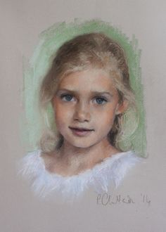 A head and shoulders pastel portrait of the beautiful and irrepressible Florence by English portrait painter Rosanna Chittenden. Pastel portraits and oil portraits of men, women, children, families, groups, animals, pets