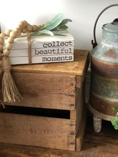 Farmhouse Books, Farmhouse Style, Farmhouse Decor, Decor Crafts, Wood Crafts, Cabinet Door Crafts, Old Book Crafts, Stacked Books, Cricket Crafts