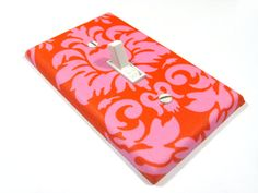 Orange and Pink Flambe Damask Light Switch Cover Teen Girls Bedroom Decor Decoration 898. $10.00, via Etsy.