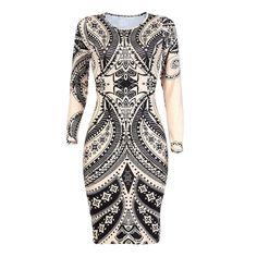 (13.84$)  Watch now - http://ail8n.worlditems.win/all/product.php?id=G8289CA-XL - Sexy Women Bodycon Dress Vintage Print Cutout Long Sleeve Slim Ethnic Mini Dress Clubwear Khaki