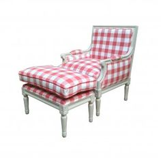 Wooden Arm Chair with Ottoman in Red and White
