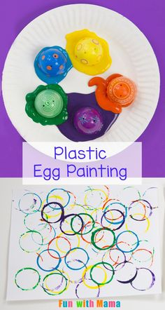 Looking for crafts with plastic Easter eggs? Try repurposing them into an Easter kids art craft. Turn them into a kids paint material! This Plastic Easter Egg Painting activity makes pretty circles on paper and kids Plastic Easter Eggs, Easter Art, Easter Crafts For Kids, Plastic Egg Crafts For Kids, Easter Projects, Easter Ideas, Art Projects, Toddler Art, Toddler Crafts