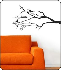 Bare Winter Tree Branch Wall Decal with Song Birds - removable vinyl sticker decor. $24.50, via Etsy.
